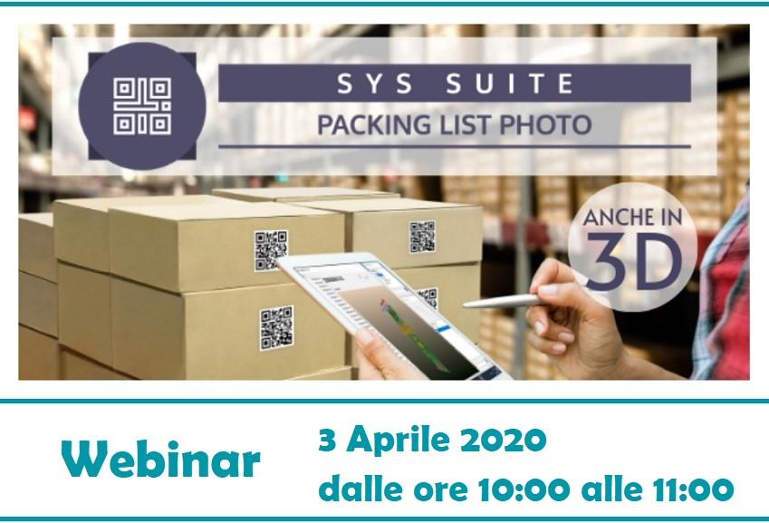 Packing List Photo - Webinar   Sygest Srl
